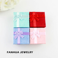 Wholesale Hot Selling New Design Square Colorful Paper Elegent Rings Jewelry Box Gift Package With Bowknot