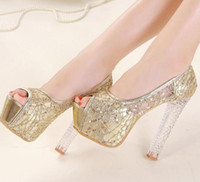 Women Pumps Chunky Heel 2014 dreamy wedding bride shoes 14cm crystal high heels sexy lace glitter silver gold shoes prom dress shoes EU34 ePacket free shippinge