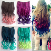 Wholesale New Fashion gradient color Chip In Hair Extensions Curly Synthetic Hair Extension Good quality