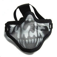 Wholesale Tactical Equipment Paintball Strike Steel Half Face Mask for Airsoft Two Belt Version