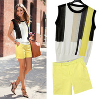 Sleeveless Cotton  Fashion Striped Knit Woman Sleeveless Blouses Top + Yellow Hot Shorts Pant Summer Casual Beach Suit Sexy Shorts Set LJD0434