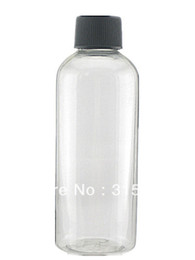 Wholesale 100ml empty Plastic Bottles clear PET bottle with black Lined screw Lid