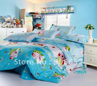 100% Cotton Hotal Adults brand new blue cartoon McDull pattern queen cotton covers kids boy's girl's bedding comforter quilt duvet covers sets 4pc