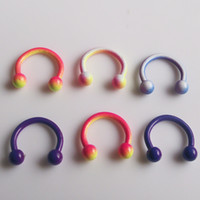 Wholesale 50pcs candy color stainless steel G circular barbell with spike cone body piercing jewelry
