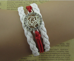crystal rose handmade infinity bracelet, karma bracelets with wax cord leather bracelet jewelry hy1150