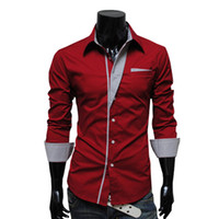 Wholesale Hot Fashion Spring Men s Long Sleeve Solid Casual Shirt Slim Fit Casual Shirts Colors
