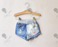 Wholesale 2014 Summer New Children Girls Jeans Shorts Denim Trousers Dress Perl Frazzling Gradual Change Dressing Colours Bead Short Pants G0093