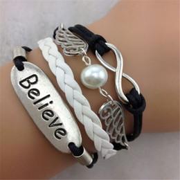 believe wings handmade infinity bracelet, karma bracelets with pearl wax cord leather bracelet jewelry hy1151
