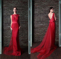 Reference Images Crew Lace Hot Sale Mermaid 2014 Elie Saab Crew Sweep Train Red Lace Evening Dresses Backless New Arrival Cheap Evening Gowns Free Shipping