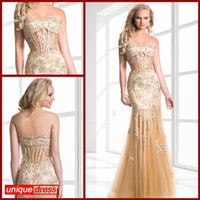Wholesale 2014 Sexy Pageant Dresses Mermaid Trumpet Sweetheart Floor Length Net Tulle Lace Beaded Crystals Hollow Out Bodice Zipper Back Evening Gowns
