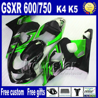 Wholesale 7 gifts ABS Fairing body kits for SUZUKI GSX R600 GSX R750 K4 green black fairings bodywork kit GSX R600 Hj54