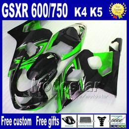 7 gifts ABS Fairing body kits for SUZUKI GSX-R600 GSX-R750 2004 2005 K4 green black fairings bodywork kit GSX-R600 750 04 05 Hj54
