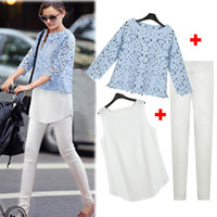 Women Short Sleeve Regular 2014 New Woman Casual Sport Suit Tracksuits Lace Blouse + Tank Tops Vest + Fitted Pencil Pant Trousers 3 PCS Set Fashion Star Suit LJD0443