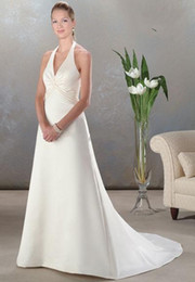 Wholesale 2014 Ruffled Taffeta Bridal Wedding Dresses Allured Halter Deep V Neck Court Train Bridal Gown