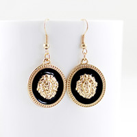 Wholesale New Arrival Hot Selling Charming Gold Color Alloy Antique Style Black Color Enamel Round Lion Head Dangle Earring for Women