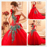 Model Pictures One-Shoulder Satin 2014 New Red Peacock Prom Dress Long Prom Party Dresses Satin One Shoulder Ball Gown Corset Prom Luxury Lace Up Sequins Quinceanera Dresses