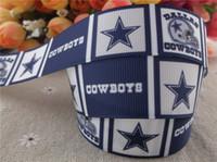 Wholesale 2014 new arrival quot mm dallas cowboy printed grosgrain ribbon sports ribbon hair bows yards