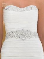 Wholesale Clear Beaded Sash - Shinning Wedding Dress Sash Clear Crystal Beaded Wedding Dresses Waistband Bridal Gown Belt