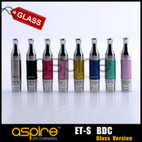 3.0ml Metal electronic cigarette Wholesale - original Aspire ET-S BDC Atomizer aspire bottom dual coil Cartomizer 3.0ml BDC ET-s glass version Clearomizer for ego cigarette