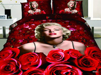 Polyester / Cotton Woven all applicable Free shipping Marilyn Monroe sex goddess red rose bedding set of 4 home textiles quilt cover sheets pillowcase Low price with high quality