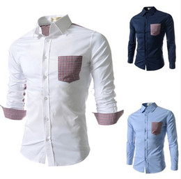 Wholesale 2014 Hot Selling Summer Men Shirts Contrasted Color British Squares Slim Plus Size Shirts Turn down Collar Shirts Colors Size