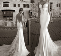 Wholesale 2014 Galia Lahav Summer White Lace Bare Back Wedding Dress Beach Bridal Gown Mermaid Sheer Straps Tiers Pleated Sweep Train