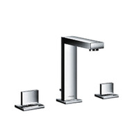 Wholesale Bathroom faucet basin mixer tap sink hole double handle hot and cold mix water high quality chrome brass square