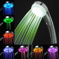LED Shower Heads Chrome ABS Plastic Free Shipping Promotion Item Led Hand Shower Seven Light Enjoy Shower Bathroom Accessories 3 Seconds Color Change Christmas Gift