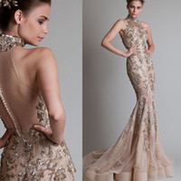 Wholesale 2014 Krikor Jabotian Couture Halter Neck Sheer Open Back Lace Beaded Applique Sweep Train Mermaid Evening Gown Sexy Tulle Evening Dresses