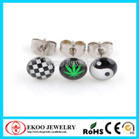 Wholesale 316L Surgical Steel Logo Earring Studs Chess Tai Chi Maple Leaf Mixed Styles of Pairs Fashion Jewelry