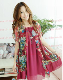 Wholesale Pregnant Maternity Dresses Casual Pregnancy Clothes Summer wear Korean flower Fake two piecebeautiful chiffon big yards dress