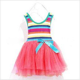 2014 Rainbow girl dress summer clothing rainbow flower dresses baby dresses girls bow wide stripe tutu dresses In Stock Fast Free Shipping