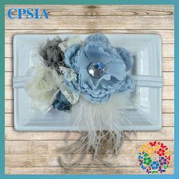 Wholesale IN Stock Vintage Aqua Party Headband Baby headband Couture Headband Flower Girl Vintage Inspired Headbands Photo Prop DHL Free