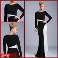 Wholesale 2014 White Black Evening Dresses Sheath Bateau Long Sleeves Sweep Train Elastic Cloth Fashion Runway Dresses Optional Black Part Fixed White
