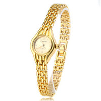 Dress Women's Water Resistant Hot Wholesale High Quality Fashion Casual Quartz Gold Dial Metal Gold Band Wemon's Wrist Watches on Sales