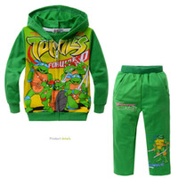 Unisex Winter Long boys turtles pattern hoodie + pants suit children Ninja Turtles cartoon suits spring autumn kids clothes set retail