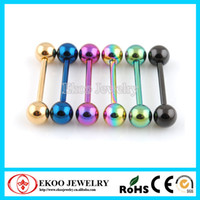 Wholesale Titanium Anodized over L Surgical Steel Tongue Barbell