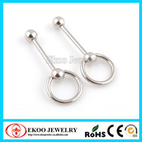 Tongue Rings Stainless Steel Unisex 316L Surgical Steel Slave Ring Barbell Tongue Piercing Jewelry Free Shipping