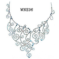 Wholesale WNE96 Neckline designs rhinestone transfers Free Shippin
