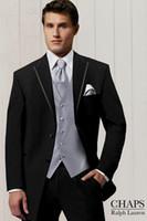 Wholesale Hote sale Fashion Men s morning dress Gentleman Black men s dress Notch Lepal wedding suits groom wedding suit custom made groom tuxedos