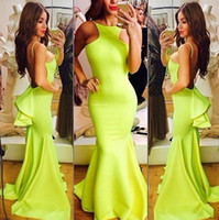 Reference Images Spaghetti Straps Satin 2014 Chic Michael Costello Mermaid Backless Evening Dresses Spaghetti Straps Back With Peplum Sweep Train Prom Gown Formal Dress