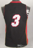 Basketball Boys Sleeveless High Quality ! Kids Revolution 30 Swingman Basketball Jerseys Miami #3 Dwyane Wade White Red Black Youth Embroidery Logo Mix Order !