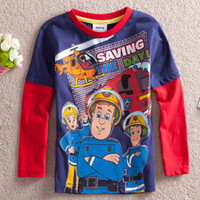 100% cotton baby clothes - Fireman Sam Saving The Day cotton Boys Long Sleeve T shirts Kids baby clothes shirt spring autumn wear