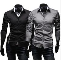 Wholesale Men s Fashion Luxury Stylish Casual Designer Dress Shirt Muscle Fit Shirts