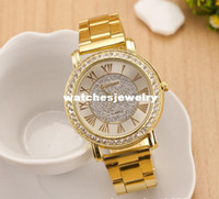 Women's analog ground - 2014 Fashion Vine grind arenaceous gold dial women s rhinestone watches bracelet watch WRW02