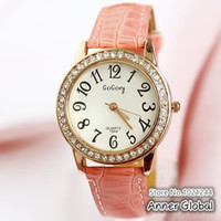 Wholesale New Gogoey Clock Women Rhinestone Watch Women Dress Watches Leather Relogio Feminino Gaga Deals Wach Cute Pink Colors Reloj