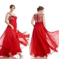 Wholesale Plus Size A line Spaghetti Beaded Applique Sheer Back Floor Length Red Chiffon Prom Formal Special Occasion Evening Dresses DL11636