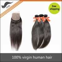 Wholesale 5A Brazilian virgin hair Straight extension human hair With Free parting Lace Closure Natural Color