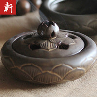 Wholesale Exquisite antique ceramic paragraph lotus incense burner santalwood plate aromatherapy incense holder