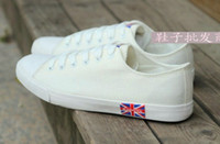 Lace-Up Unisex Summer Brand New Fashion 2014 Spring Free Shipping the Union Flag woman and Men's white low Canvas Britpop Flats British Casual Shoes Men Sneakers